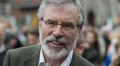 Sinn Fein Easter Rising 1916 commemoration ceremony and march. Gerry Adams.
