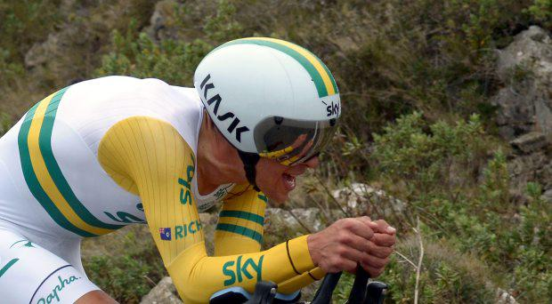 Australia's Richie Porte competes during the 9,5 km individual time-trial and last stage of the 73rd edition of the Paris-Nice cycling race in Nice, southeastern France, on March 15, 2015