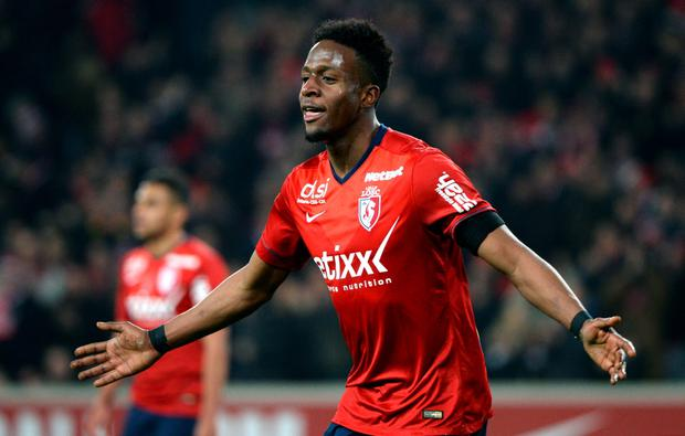 Lille's Belgian forward Divock Origi celebrates after scoring a goal during the French L1 football match between Lille (LOSC) and Rennes (SRFC)