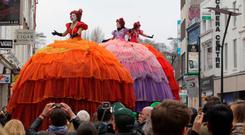 16/03/15 Les Poup'es G'antes (three giant dolls) created and presented by French Theatre Company, Transe Express.? The dolls, brought to Dublin especially for St. Patricks Festival 2015 pictured this afternoon in Dublin. Pic Stephen Collins/Collins Photos