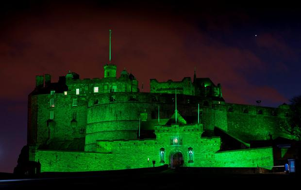 Edinburgh Castle is lit up green for St Patrick's Day