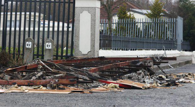 The burnt out remains of a Caravan at the entrance to St. Philomena's Court, Ballycoolin Road, Blanchardstown