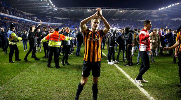 Bradford City's Stephen Darby applauds fans at the end as Reading fans invade the pitch