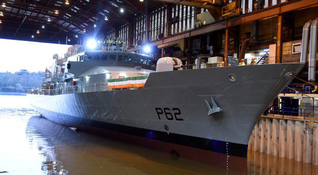 The new Irish Navy ship P-62, the James Joyce is floated for the first time in Apeldore Shipyard, Devon, England