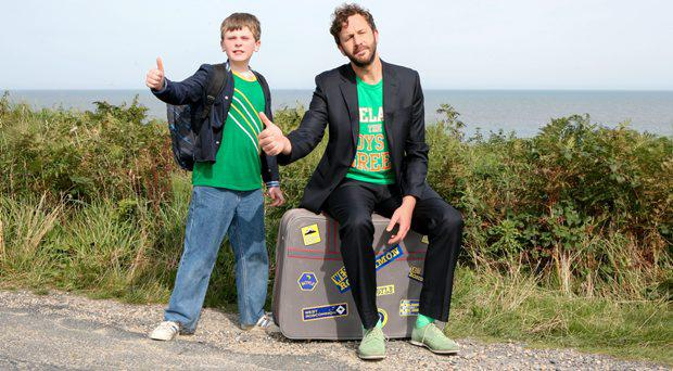 David Rawle as Martin and Chris O'Dowd as Sean Murphy in Moone Boy.