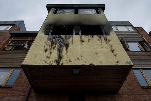 The fire damaged apartment at Poppintree Parade