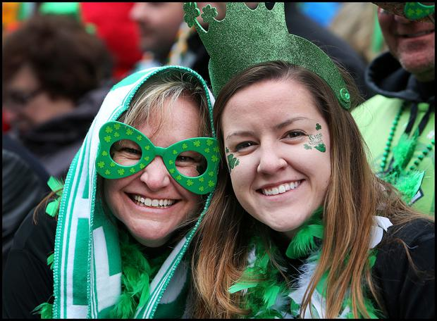Enjoying the St Patricks Day Parade in Dublin was Nicole and Holly Emmert from North Carolina. Pic Steve Humphreys