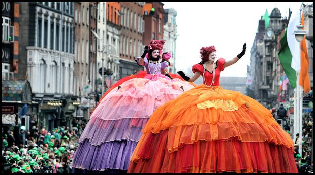 Enjoying the St Patricks Day Parade in Dublin was members of Transe Epresss 'Les Poupees' Geantes. Pic Steve Humphreys