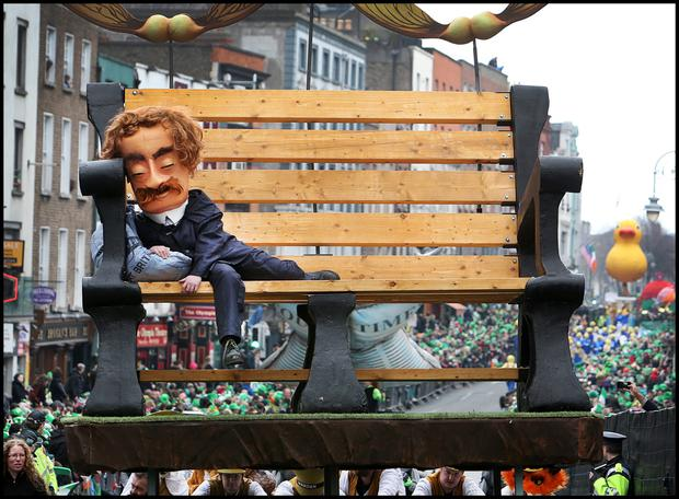 Enjoying the St Patricks Day Parade in Dublin . Pic Steve Humphreys