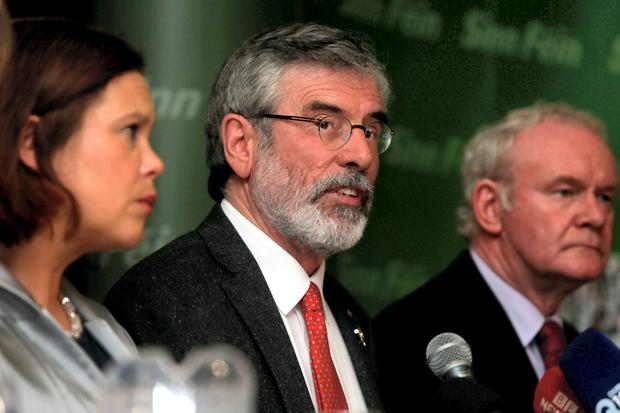 Sinn Fein president Gerry Adams (centre) with deputy leader Mary Lou McDonald and the north's Deputy First Minister Martin McGuinness. Photo: PA