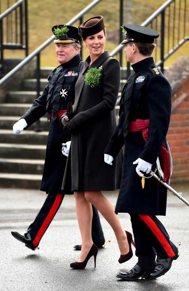 The Duchess of Cambridge during a visit to Mons Barracks in Aldershot, Hampshire, as the Irish Guards regiment marks St Patrick's Day