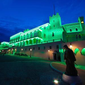 The Prince's Palace in Monaco joins Tourism Ireland's Global Greening initiative, to celebrate the island of Ireland and St Patrick. Pic – Frederic Nebinger/Tourism Ireland.