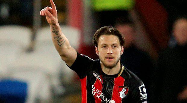 Bournemouth's Harry Arter celebrates scoring their first goal during the Sky Bet Championship match at Cardiff City Stadium, Cardiff