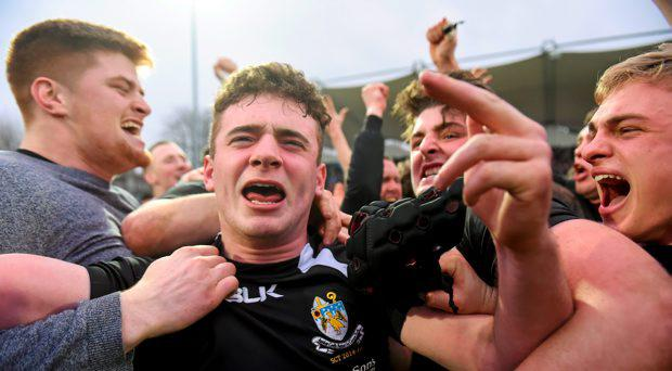 Joe Murphy and his CC Roscrea team-mates celebrate their side's victory. Bank of Ireland Leinster Schools Senior Cup Final