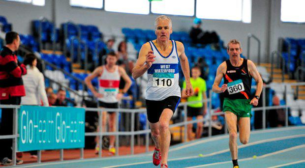 Joe Gough, West Waterford AC, on his way to winning the Men's over 60 800m event, during the GloHealth National Masters Indoor Track and Field Championships