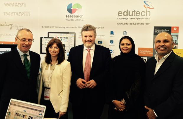 Left to right: Irish Ambassador to UAE Patrick Hennessy, Dr. Hilary Kenna (CEO SeeSearch), Minister James Reilly TD, Shameema Parveen (CEO Edutech), ASF Karim (Edutech Founder & Chairman).