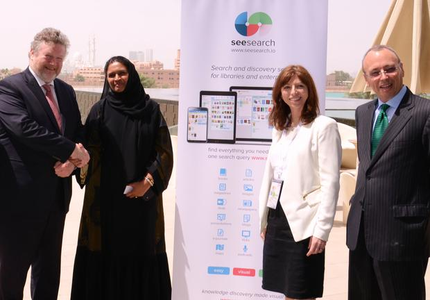 Left to right: Minister James Reilly TD, Shameema Parveen (CEO Edutech), Dr. Hilary Kenna (CEO SeeSearch), Irish Ambassador to UAE Patrick Hennessy.