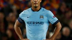 Vincent Kompany, who can no longer be regarded as the finest centre half in the Premier League, looked almost fearful against Barcelona in the Nou Camp last night