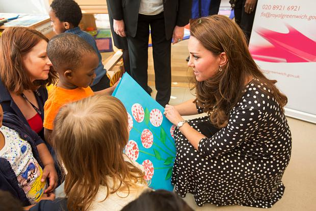 Catherine, Duchess of Cambridge visits the Brookhill Children's Centre in Woolwich to find out about the work of Home Start on March 18, 2015 in London, England