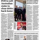 The front of the Irish Independent business section