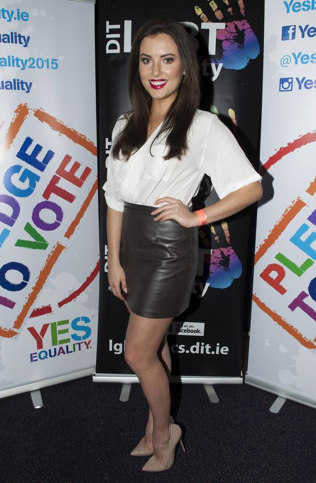 Holly Carpenter at Stand-up 4 Love comedy night run by the DIT LGBT society in support of a YES vote this May's Marriage Equality Referendum, Vicar Street, Dublin, Ireland