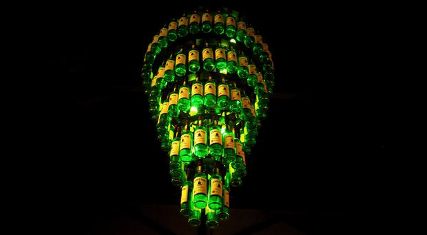 A chandelier made from whiskey bottles at the Jameson Experience in Midleton, Co. Cork.