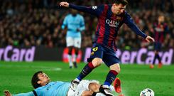 Lionel Messi leaves David Silva down and out at the Nou Camp
