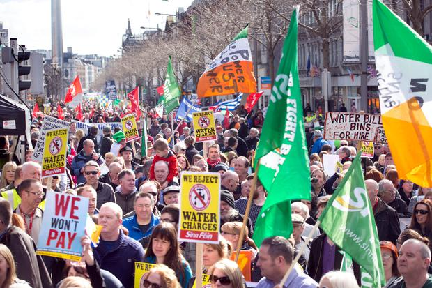 Anti Water charges protesters assemble on Dublin's O'Connell Street. Photo: Tony Gavin