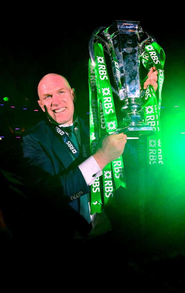 Ireland captain Paul O'Connell with the six nations trophy at Murrayfield Stadium. Photo: Mark Runnacles/PA Wire