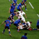 England scrum-half Ben Youngs tries to drive through the French defence to score a try in the dying seconds of the Six Nations match against France