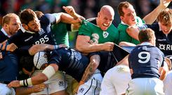 Ireland captain Paul O'Connell and Devin Toner during a Scotland maul