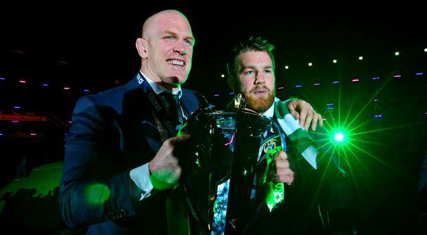 Ireland captain Paul O'Connell (left), and Sean O'Brian with the six nations trophy as Ireland win the Six Nation at Murrayfield Stadium at the end of the 2015 RBS Six Nations match at the BT Murrayfield Stadium, Edinburgh. PRESS ASSOCIATION Photo. Picture date: Saturday March 21, 2015. See PA story RUGBYU Scotland. Photo credit should read: Mark Runnacles/PA Wire