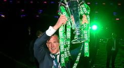 Ireland captain Paul O'Connell celebrates with the RBS Six Nations Rugby Championship trophy