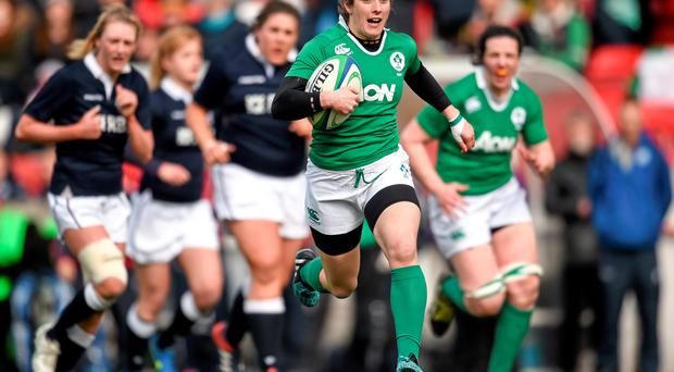 Alison Miller, Ireland, on her way to scoring a first half try against Scotland last month
