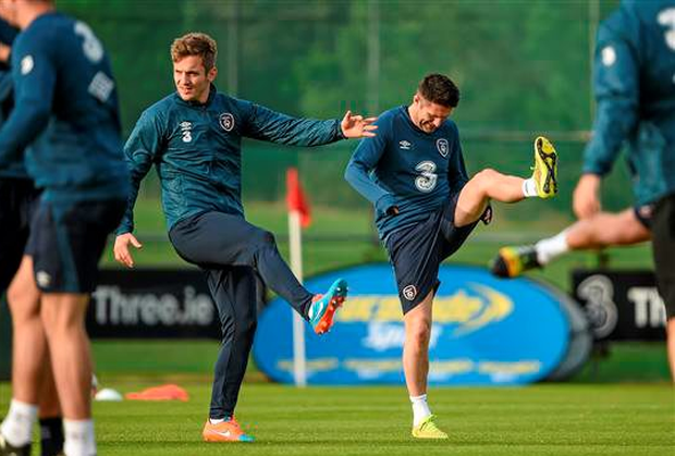 Ireland's Kevin Doyle, left, next to Robbie Keane during squad training