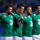 Ireland players, from left, Robbie Henshaw, Jared Payne, Jonathan Sexton, Sean O'Brien, Peter O'Mahony and Luke Fitzgerald line up for the national anthems ahead of the game. RBS Six Nations Rugby Championship, Scotland v Ireland (Brendan Moran / SPORTSFILE)