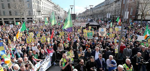 Anti water charge protestors pictured on O'Connell street