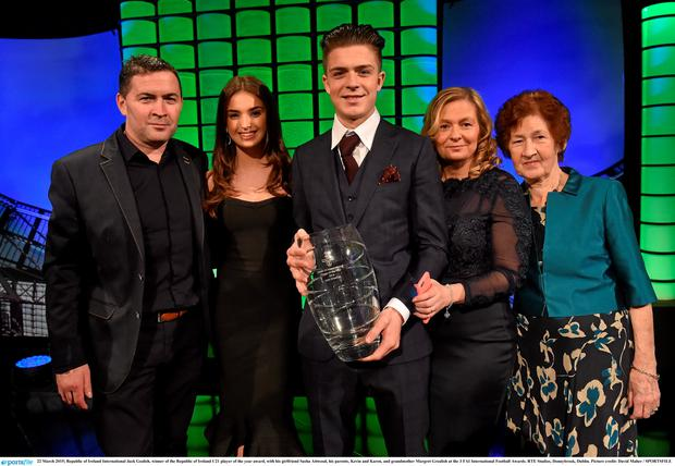 Ireland International Jack Gealish, winner of the Republic of Ireland U21 player of the year award, with his girlfriend Sasha Attwood, his parents, Kevin and Karen, and grandmother Margret Grealish at the 3 FAI International Football Awards. RTE Studios, Donnybrook, Dublin. Picture credit: David Maher / SPORTSFILE