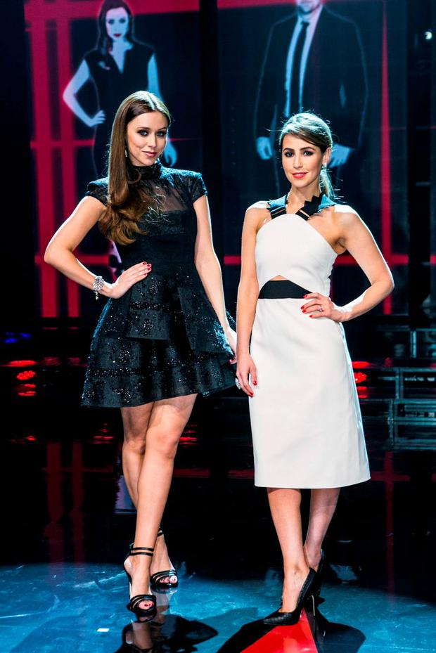 Rachel Stevens and Una Foden during the first live show of The Voice of Ireland in The Helix.
