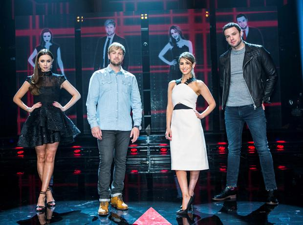 Una Foden Kian Egan Rachel Stevens and Bressie during the first live show of The Voice of Ireland in The Helix.