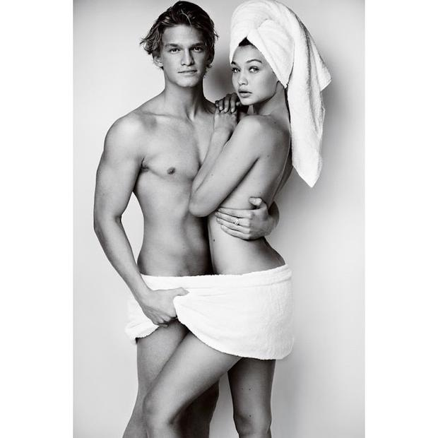 Cody Simpson and Gigi Hadid for Mario Testino's Towel Series