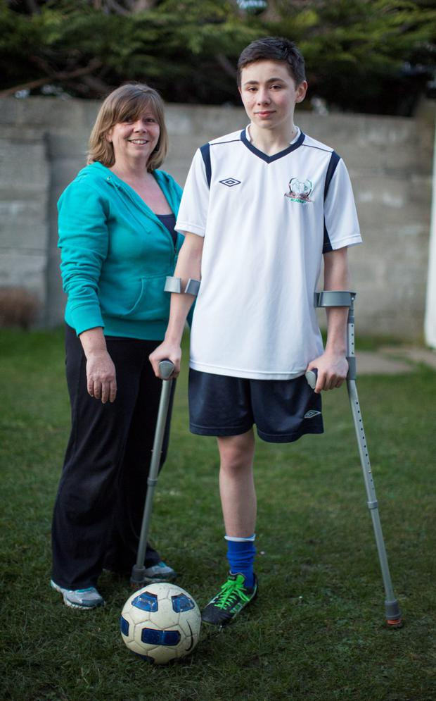 Neil Hoey (15) and his mum Aideen. Pic: Fergal Philips