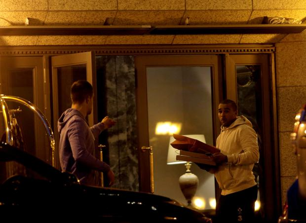 22/3/15 Conor Murray and Simon Zebo pictured at the InterContinental Hotel in Dublin. Picture:Arthur Carron