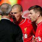 Liverpool's Steven Gerrard remonstrates with referee Martin Atkinson after being sent off