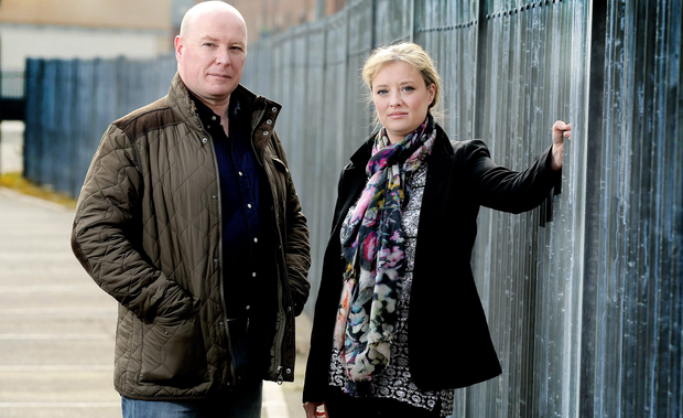 Austin Stack, son of Brian Stack (inset), the only prison officer to be assassinated in the Republic of Ireland, is pictured in Belfast with Mairia Cahill, who was raped by an IRA man. Picture by Kelvin Boyes