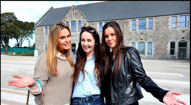 DIT Students Tara Bolger from Athy Kildare, Remy English from Athy Kildare and Manuela Mentel from Edenderry Offaly at the new DIT Grangegorman campus in September