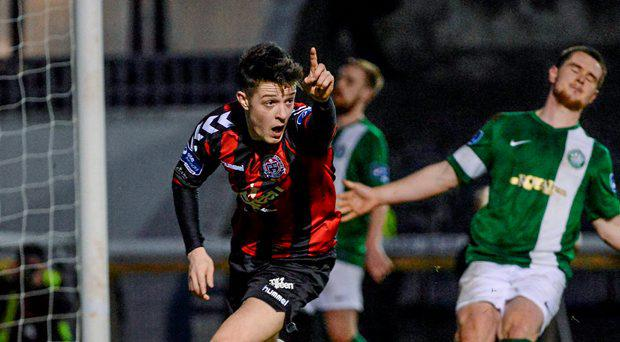 Adam Evans, Bohemians, celebrates scoring his side's first goal of the game