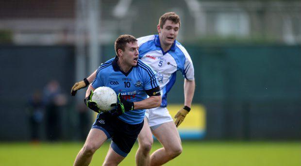 Davey Byrne, Dublin, in action against Mark Sweeney, Dub Stars