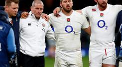 England's Dylan Hartley, head coach Stuart Lancaster, Chris Robshaw and Tom Wood after the win against France Reuters / Eddie Keogh