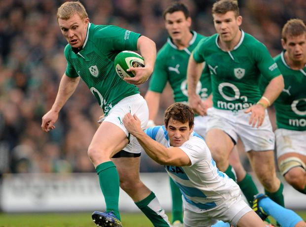 Keith Earls, here being tackled by Nicolas Sanchez of Argentina, and Gordon D'Arcy (R) need to shine for their provinces in order to get into Joe Schmidt's plansdominate